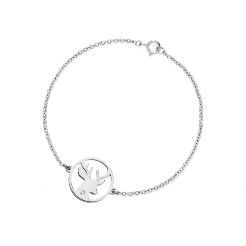 APRIL Silver bracelet with a diamond